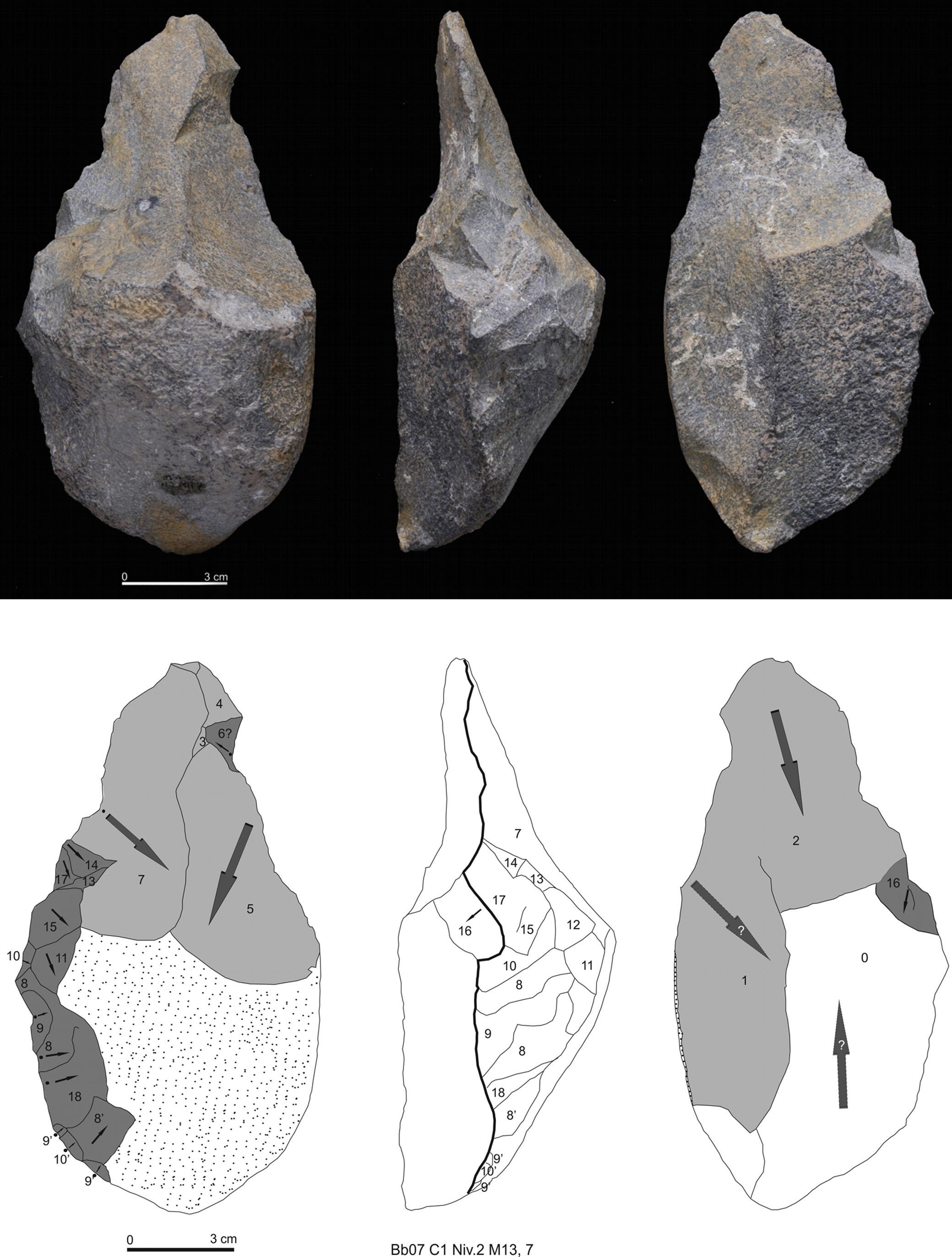 Schist pick from Barranc de la Boella, dating to Lower Palaeolithic, 0.96–0.78 Ma. Image from Mosquera et al. (2015) doi/10.1002/jqs.2800