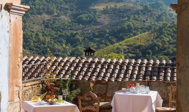 Terroir al Límit winery terrace overlooking vineyards, Priorat. Image by Terroir al Límit