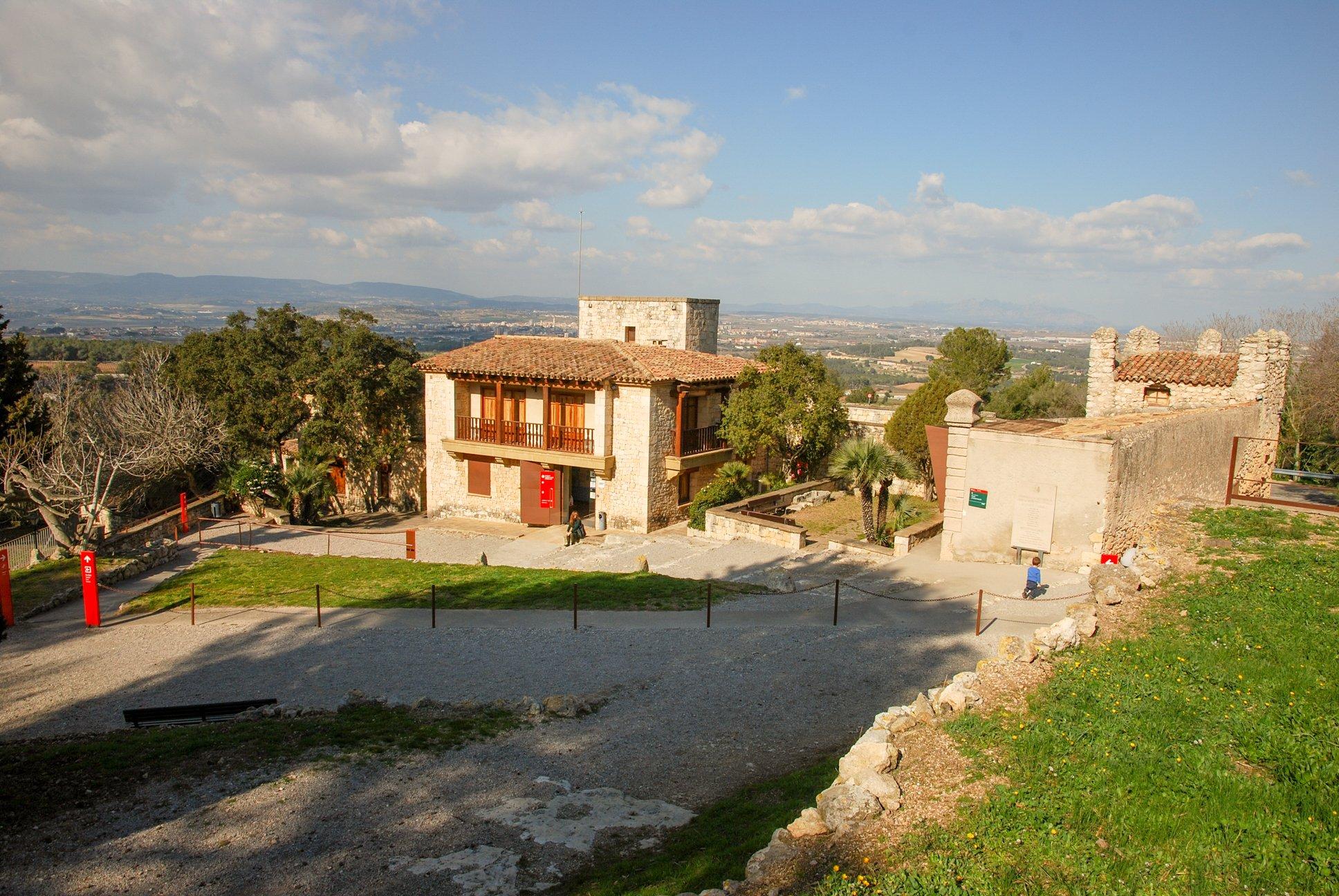 Olèrdola museum, built in refurbished old masia / rectory overlooking the Penedès wine region and Montserrat, Olèrdola monumental complex