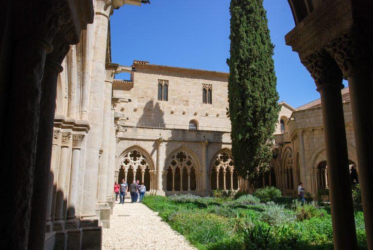 Royal Abbey of Santa Maria de Poblet, Cistercian monastery (Poblet Monastery). Gothic cloister. UNESCO site, Catalonia, Spain
