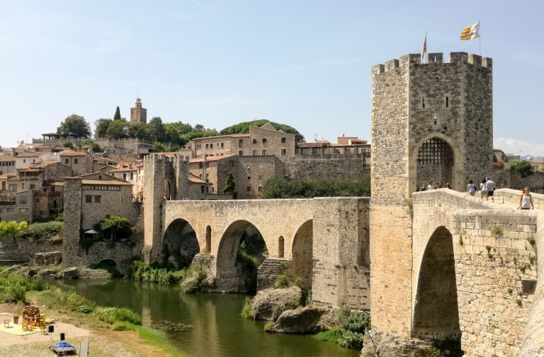 12th-century Romanesque bridge over River Fluvià, Besalú medieval town, Catalonia