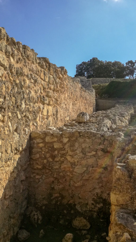 Iberian Iron Age wall (8th-1st century BC) on right, with Roman Wall (1st century BC) on left, Olèrdola