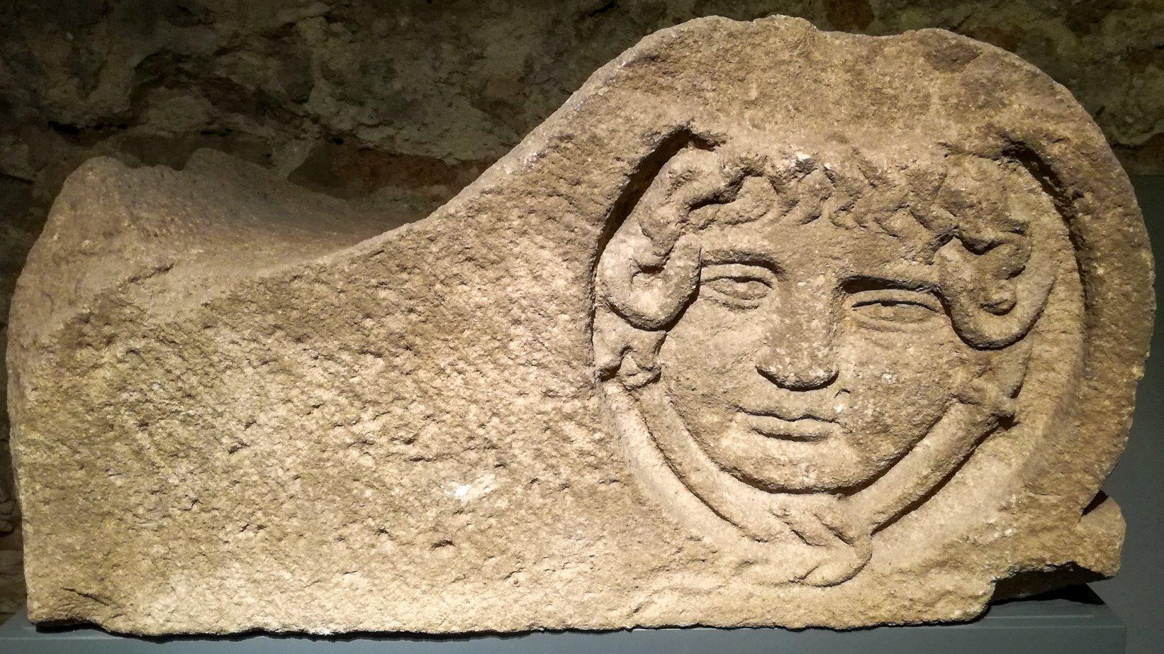 Roman Medusa acroterium sculpture, 1st AD Barcelona MUHBA