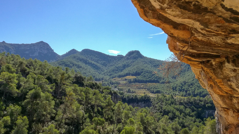 View of Serra de Llaberia (Llaberia Mountains) from the Parellada IV UNESCO prehistoric rock art site