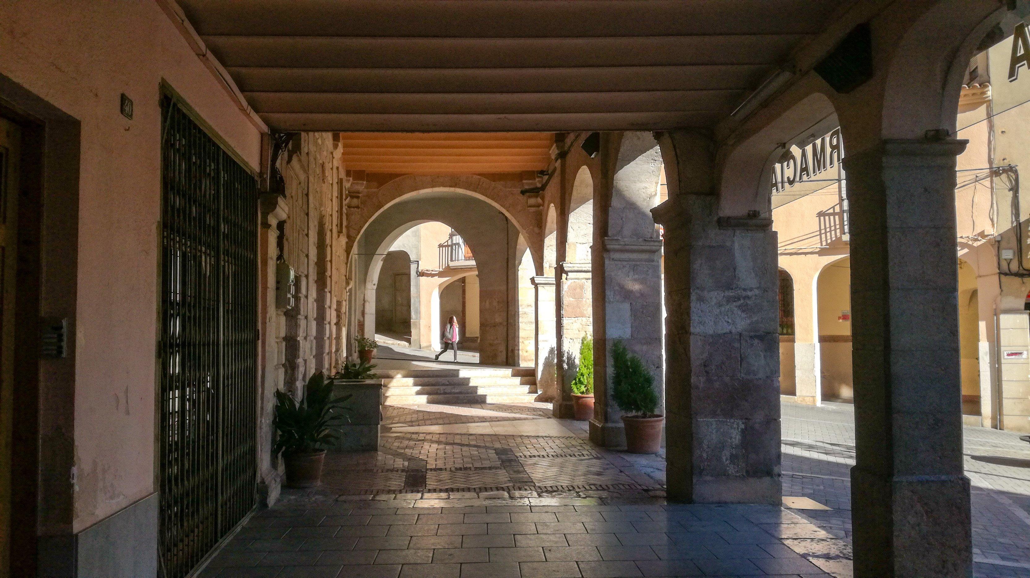 Falset, Priorat. Medieval arcade in main plaça
