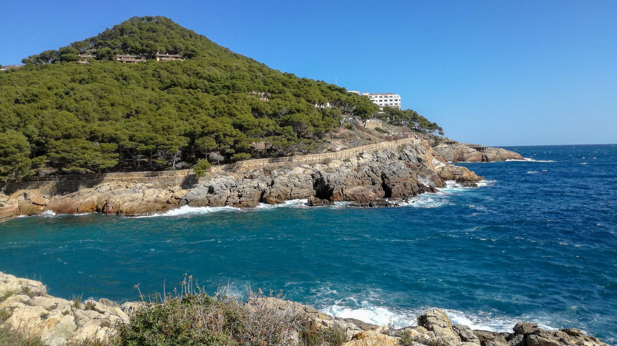 Begur Coastal Hike trail. Ancient path under pine trees along Mediterranean Sea