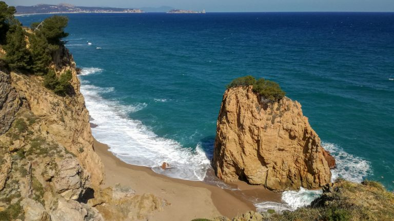 Illa Roja and Cala Moreta, along the Begur Costa Brava Coastal Hike trail looking north along Mediterranean coast