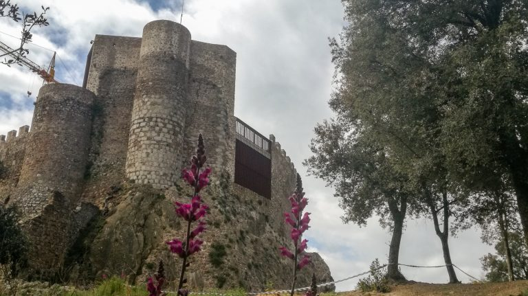 Montsoriu Castle, Montseny Hike trail. Gothic castle on summit of hill overlooking the Mediterranean Sea and the Pyrenees Mountains