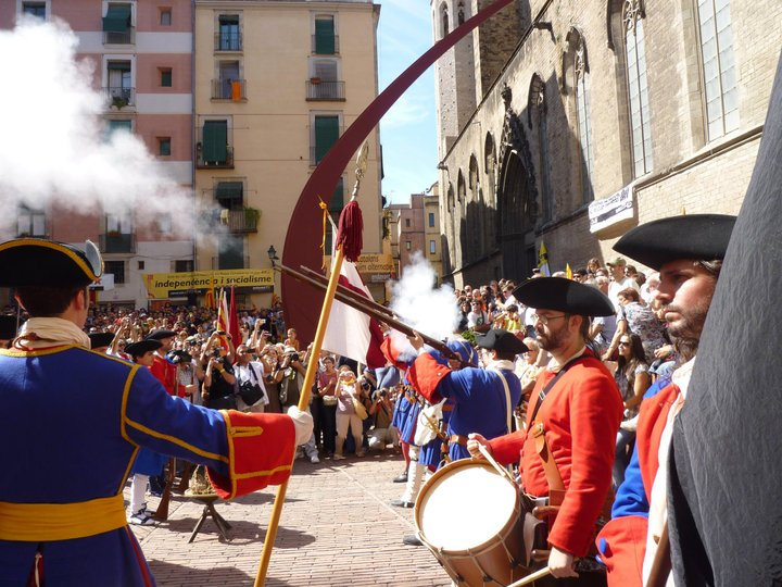 Diada Catalunya. Gun salute for Catalans fallen in the Siege of Barcelona (1714), during the War of the Spanish Succession