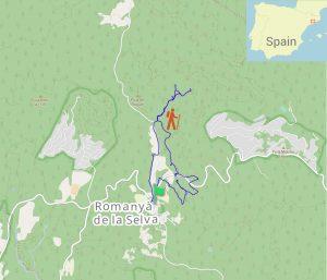 Guided hike track outline, Dolmen Cova Daina, Baix Empordà, north of Barcelona, Catalonia