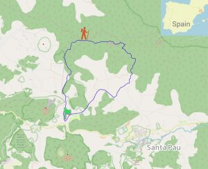 Private Guided Hike track outline, Garrotxa Volcanic Zone Natural Park South, Catalonia, Spain