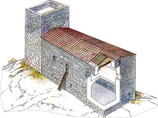 Reconstruction of medieval castle (10th-12th century) and Roman watchtower (1st century BC). Image from Museu d'Arqueologia de Catalunya http://www.mac.cat/Seus/Olerdola