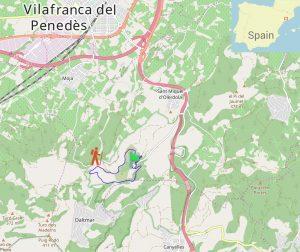 Guided hike track outline, Olèrdola wine country Penedès