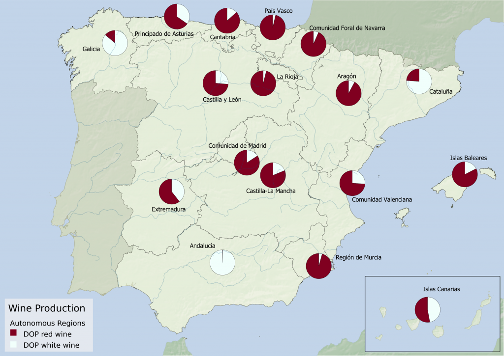 Spain wine region statistics - Proportion of red and white wine produced under DOP appellation per Autonomous Community