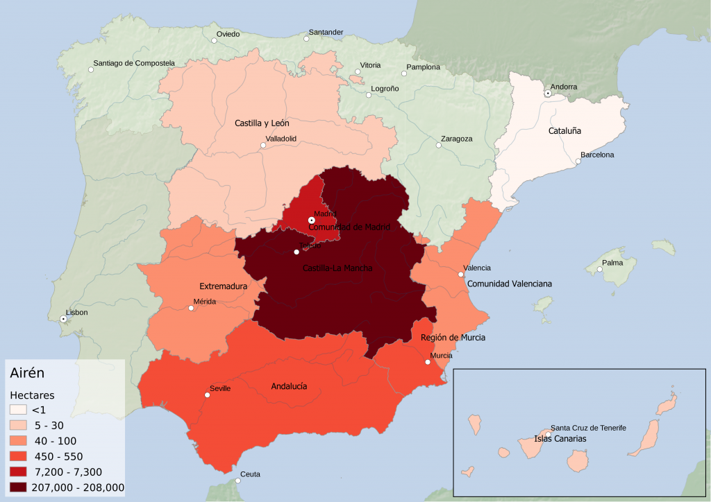 Spain wine regions - white grape variety Airén hectarage by Autonomous Community
