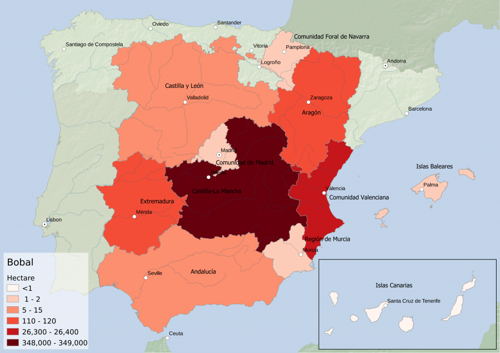 Spain wine regions - red grape variety Bobal hectarage by Autonomous Community