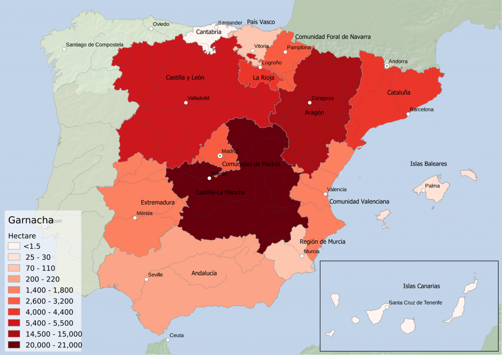 Spain wine regions - red grape variety Garnacha hectarage by Autonomous Community
