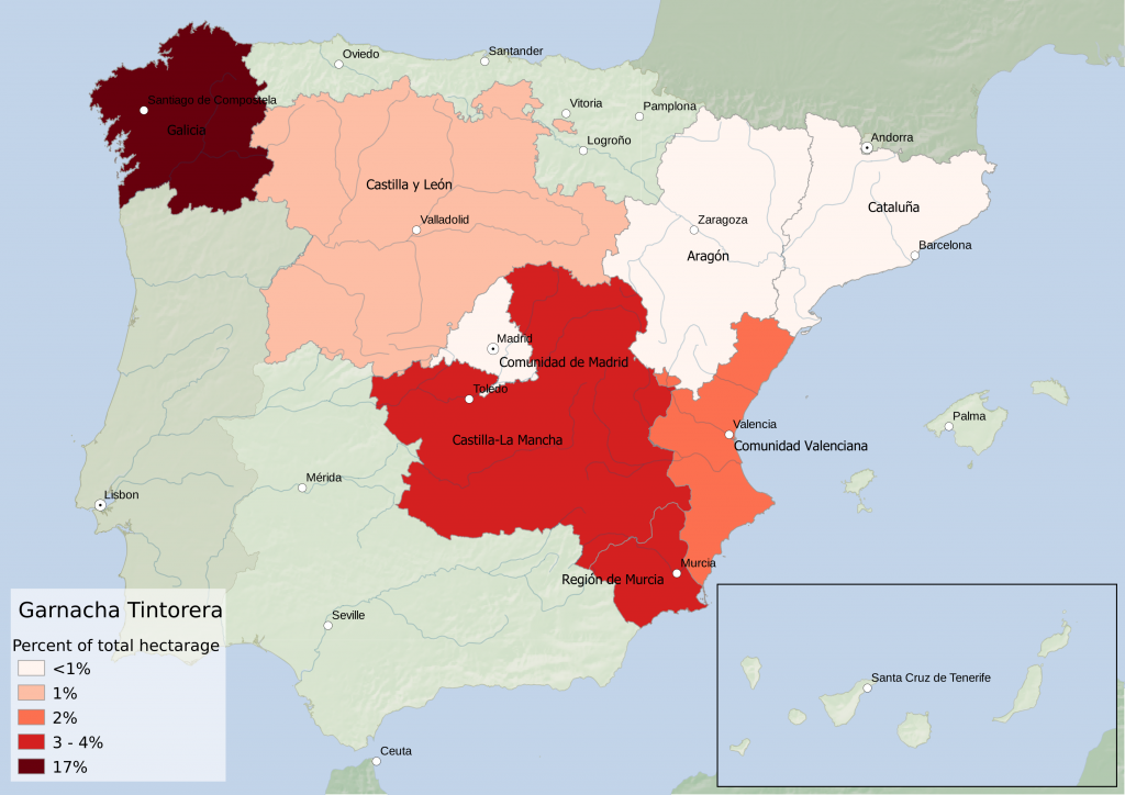 Spain wine regions - red grape variety Garnacha Tintorera hectarage as percent of Autonomous Community total hectarage