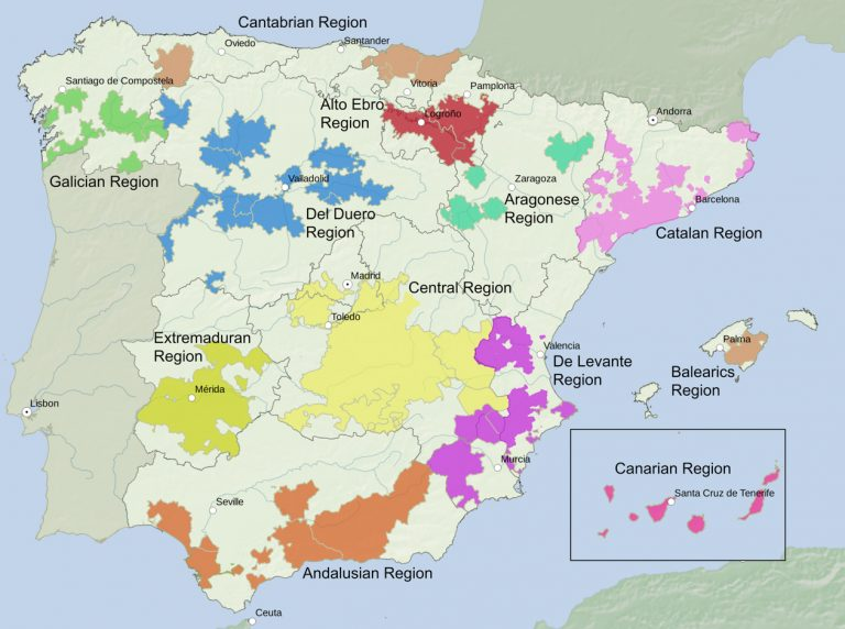 Wine regions of Spain. Traditionally Spain is divided into 12 wine regions. Going clockwise from the north they are the Galician Region, Cantabrian Region, Del Duero Region, Alto Ebro Region, Aragonese Region, Catalan Region, Balearics Region, De Levante Region, Central Region, Andalusian Region, Extremaduran Region, and the Canarian Region