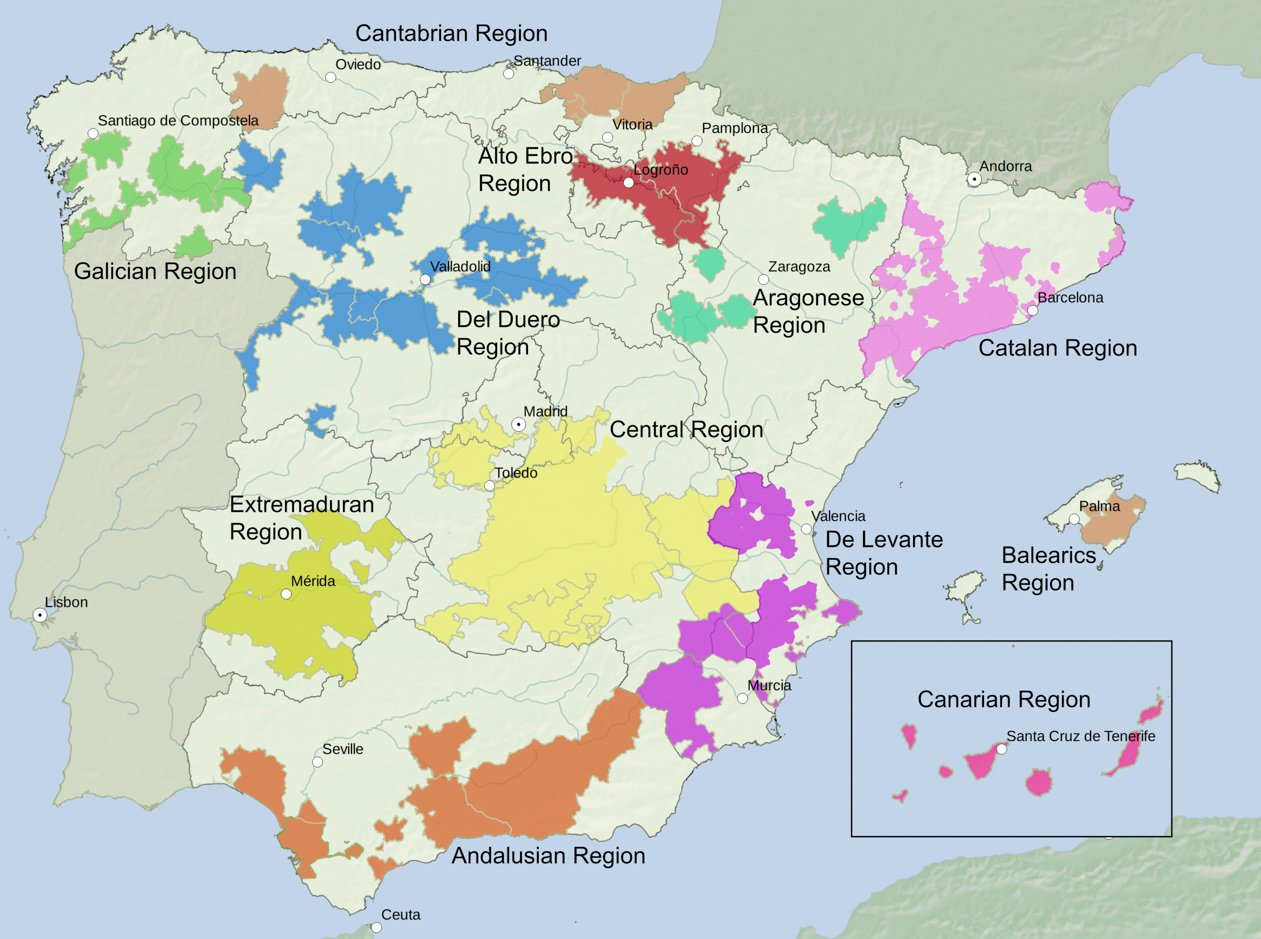 Wine Regions Of Spain Traditionally Spain Is Divided Into 12 Wine