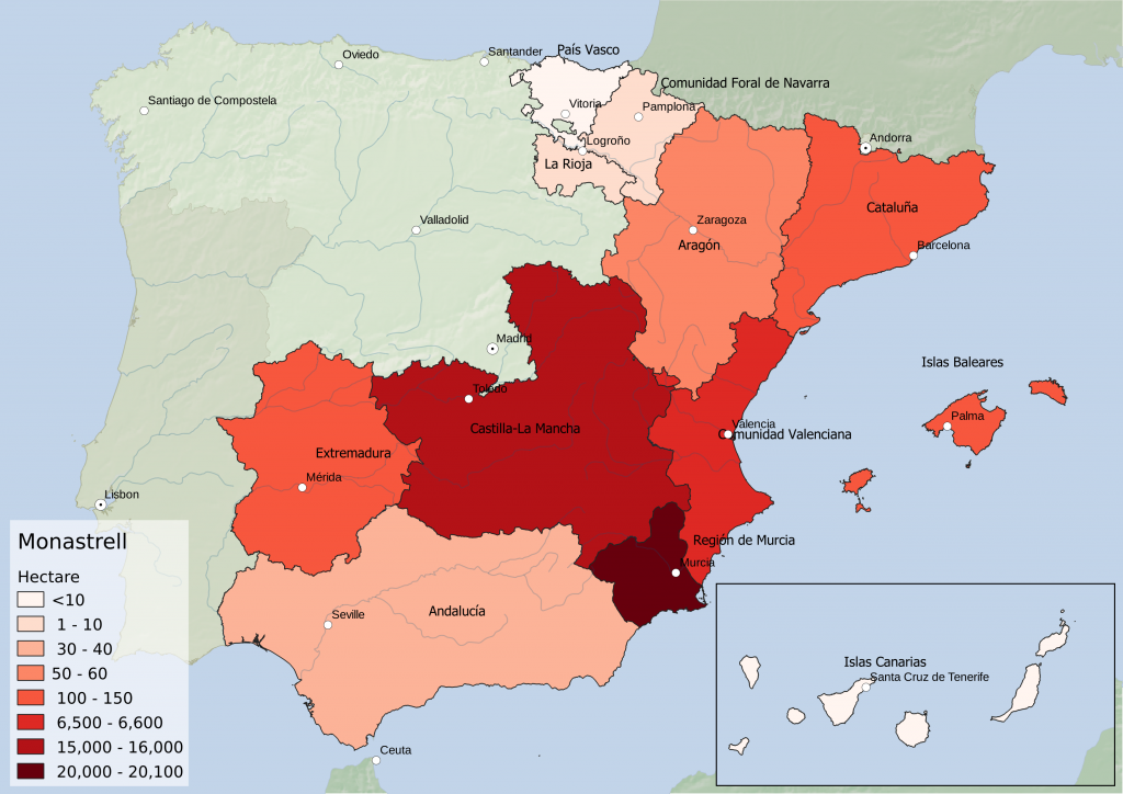 Spain wine regions - red grape variety Monastrell hectarage by Autonomous Community