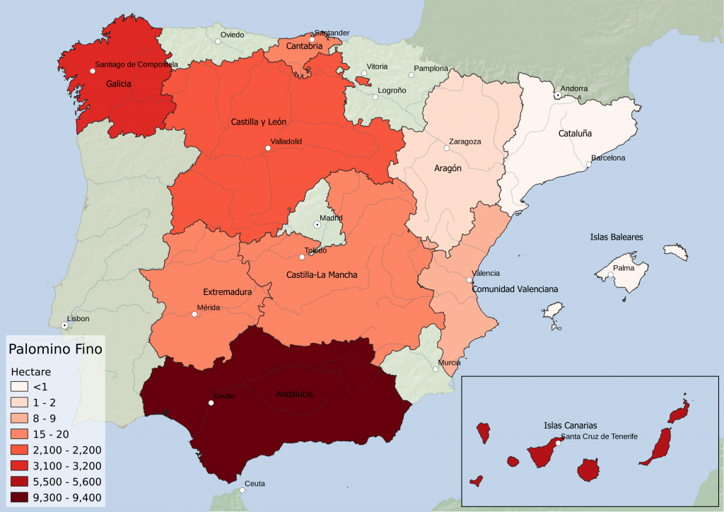 Spain wine regions - white grape variety Palomino Fino hectarage by Autonomous Community