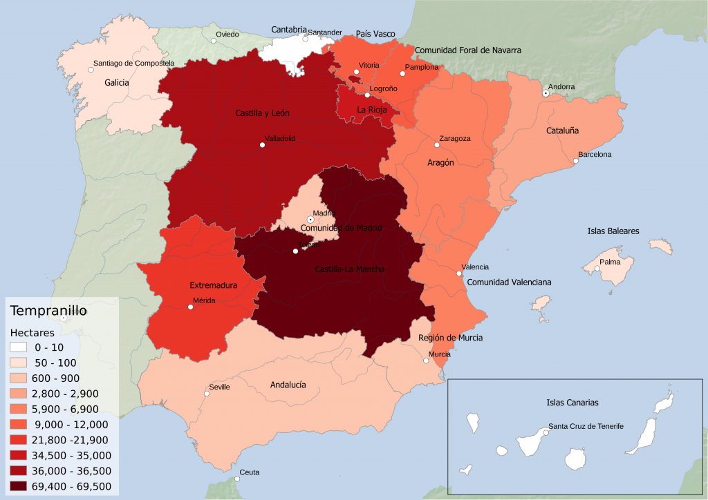 Spain wine regions - red grape variety Tempranillo hectarage by Autonomous Community