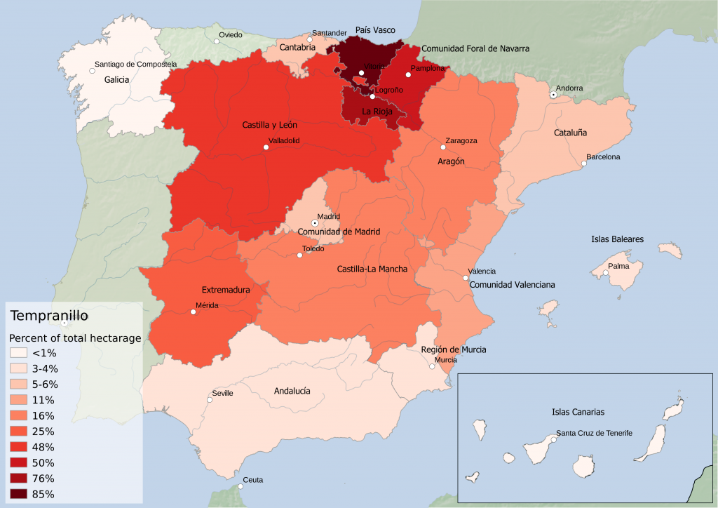 Spain wine regions - red grape variety Tempranillo hectarage as percent of Autonomous Community total hectarage