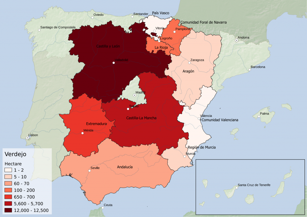 Spain wine regions - white grape variety Verdejo hectarage by Autonomous Community