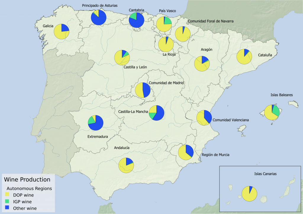 Spain wine region statistics - Proportion of wine produced under DOP, IGP, and other appellation per Autonomous Community
